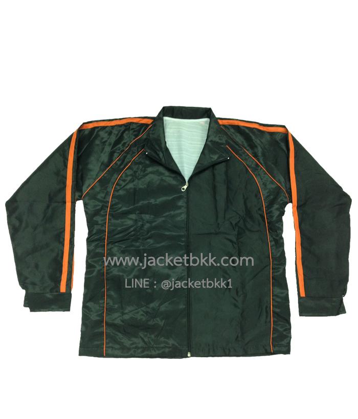 เสื้อแจ็คเก็ต ผ้าร่มลายริ้ว สีดำตัดต่อสีส้ม