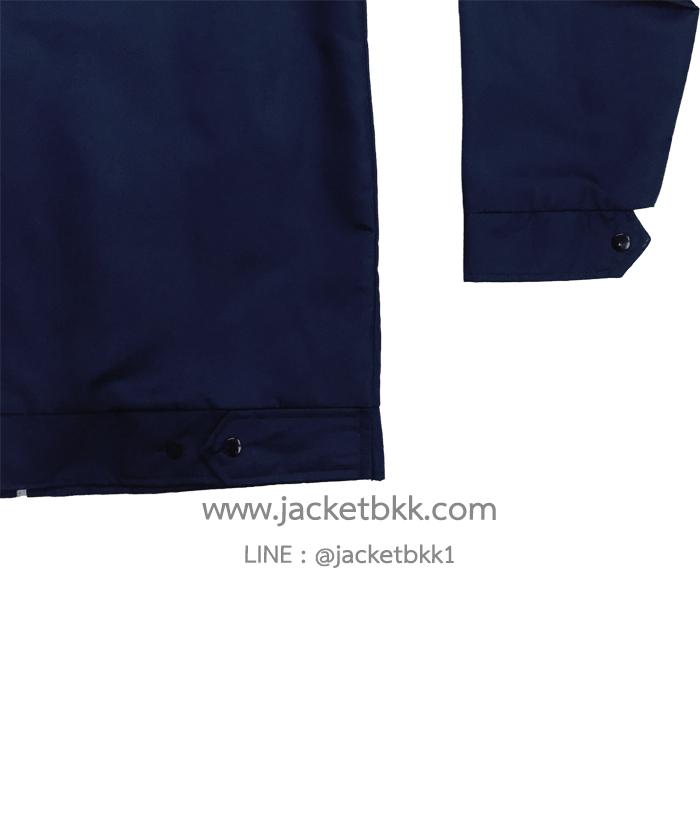 เสื้อแจ็คเก็ตสีกรมท่า ผ้าไมโคร คอปกเอวขอบ