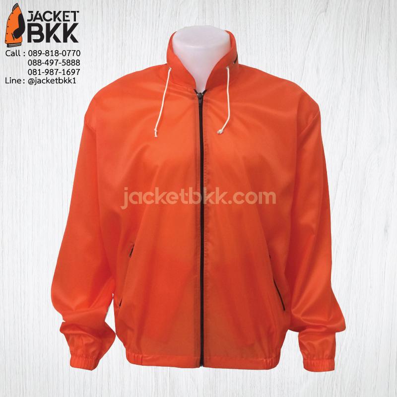เสื้อแจ็คเก็ต ผ้าร่ม มีฮู๊ด สีส้ม