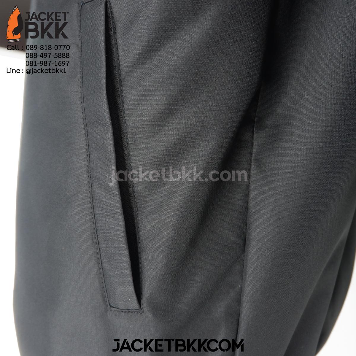เสื้อแจ็คเก็ต ทรงเบสบอล แบบคอตั้งทอพรม สีดำ