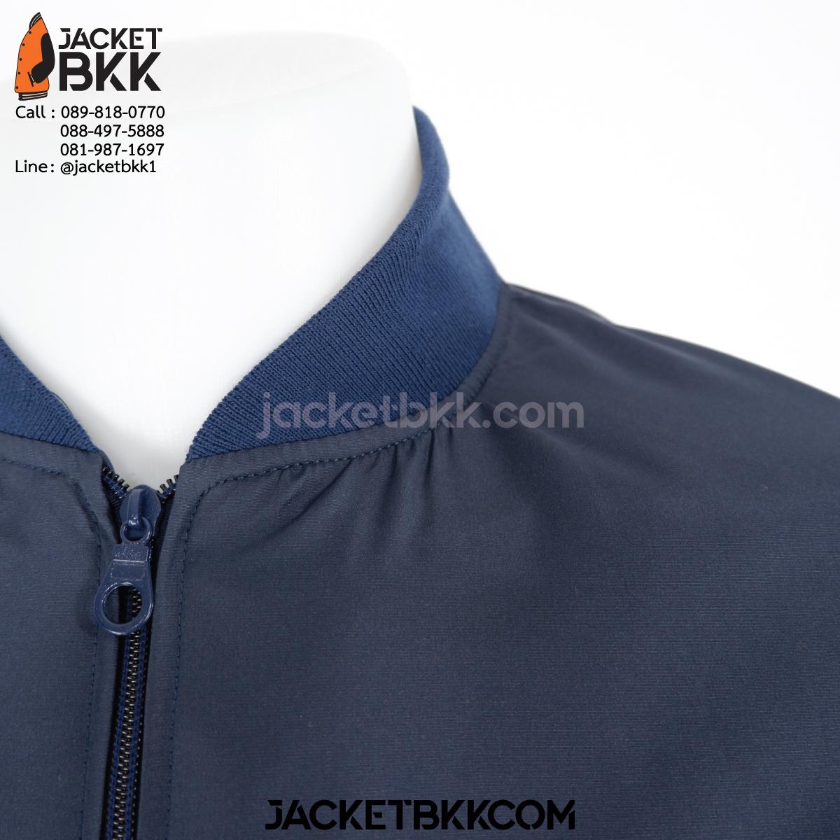 เสื้อแจ็คเก็ต ทรงเบสบอล แบบคอตั้งทอพรม สีกรมท่า