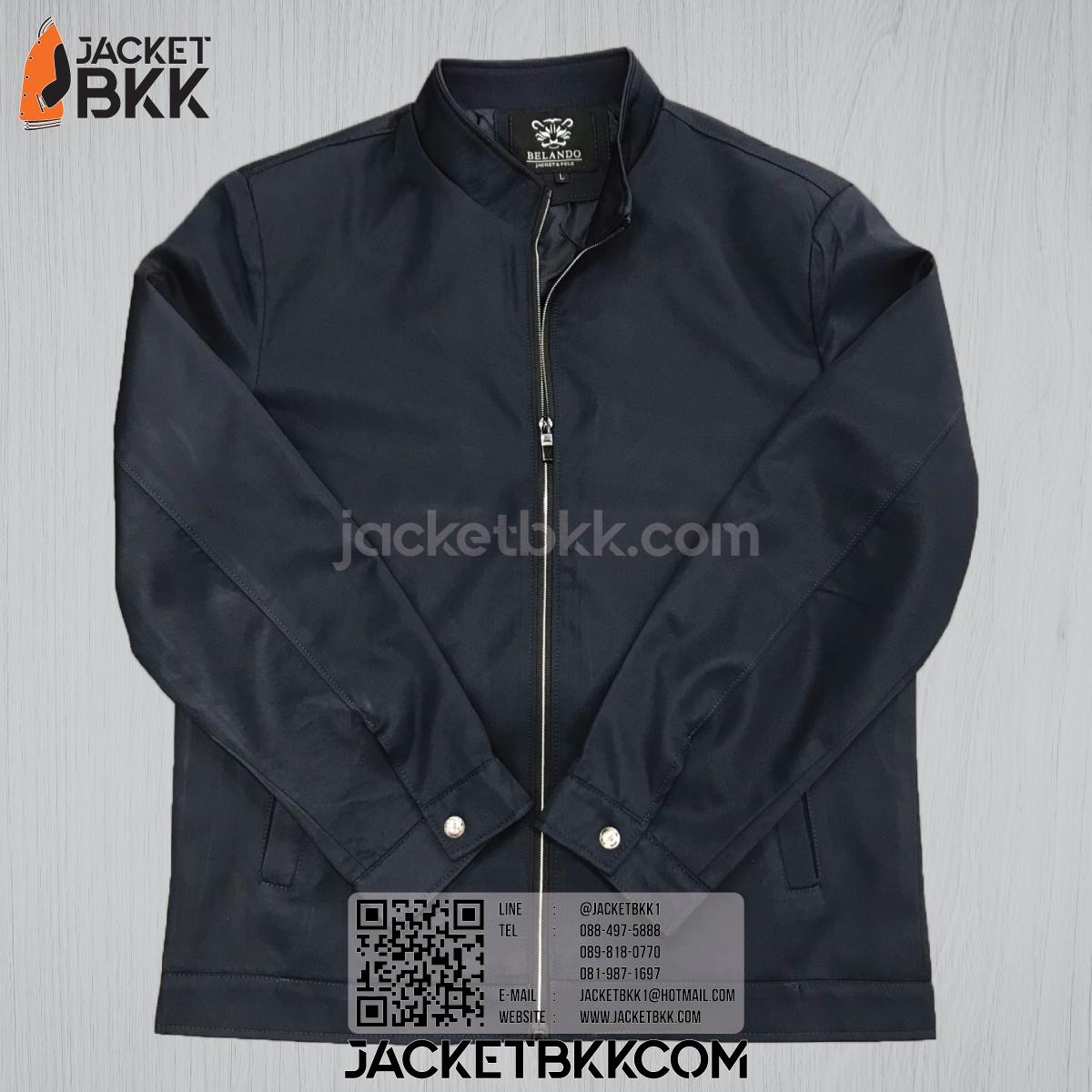 เสื้อแจ็คเก็ตคอจีน นำเข้า สีกรมท่าเข้ม