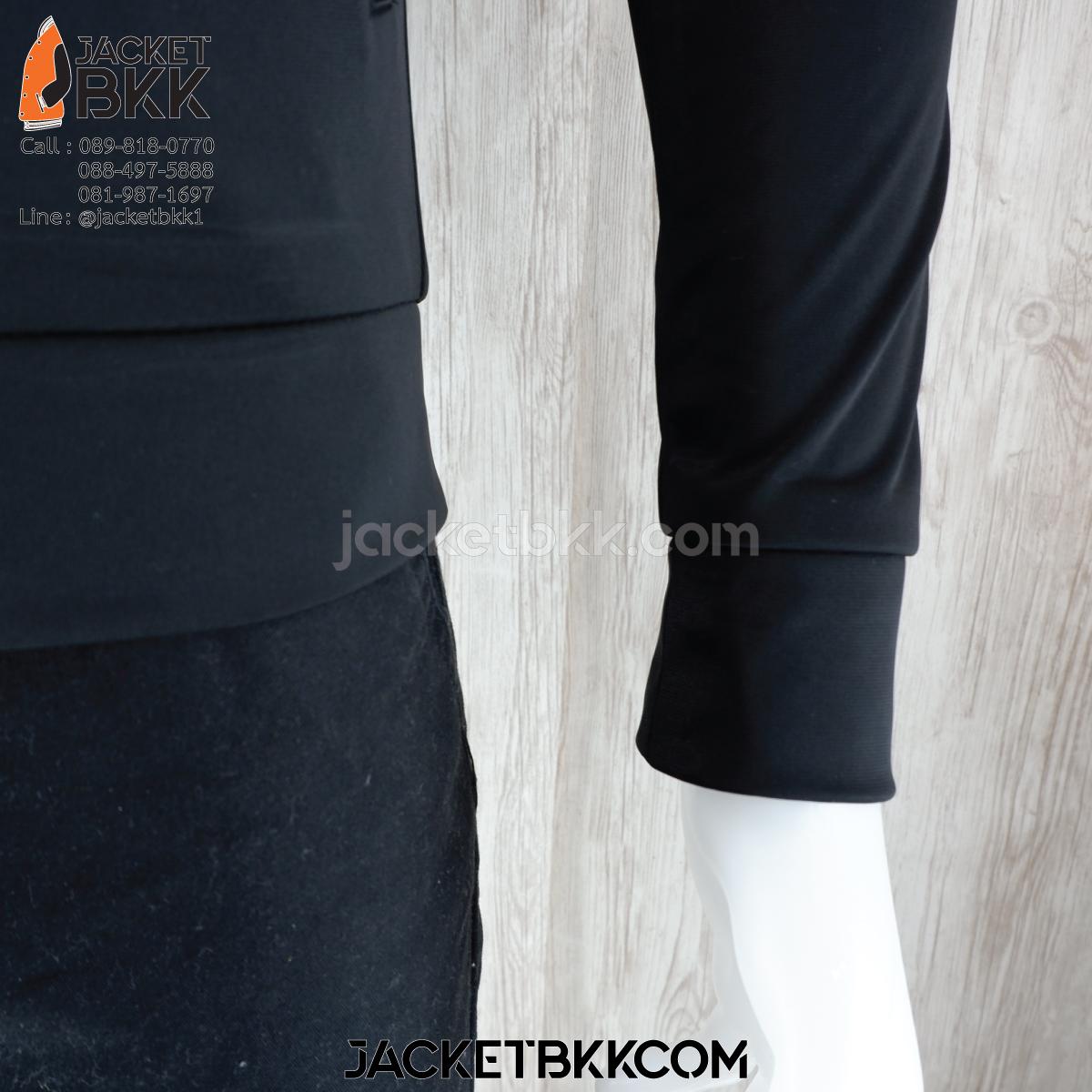 ร้านขายส่ง เสื้อแจ็คเก็ตผ้าขูดขน สีดำ โบ๊เบ๊ - บริการปักสกรีน