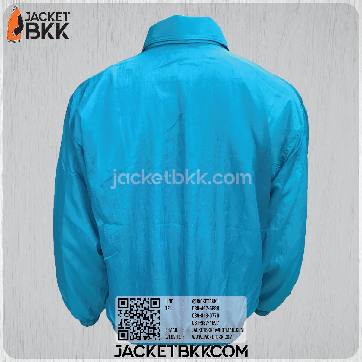 ขายส่งเสื้อแจ็คเก็ตผ้าร่มย่น สีฟ้า โบ๊เบ๊ พร้อมปักสกรีน