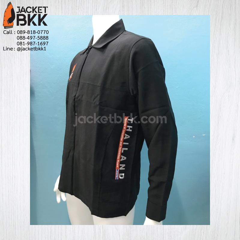 ผลงาน - เสื้อแจ็คเก็ตสำเร็จรูป สีดำล้วน พร้อมงานปัก #กระทรวงพลังงาน