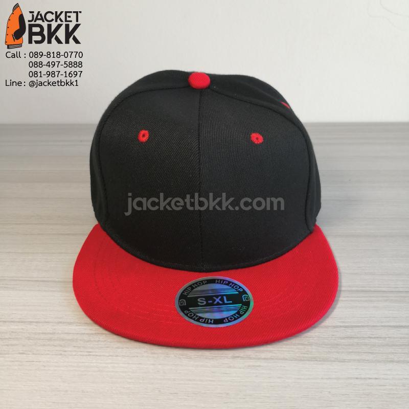 หมวกฮิปฮอป สีดำแดง