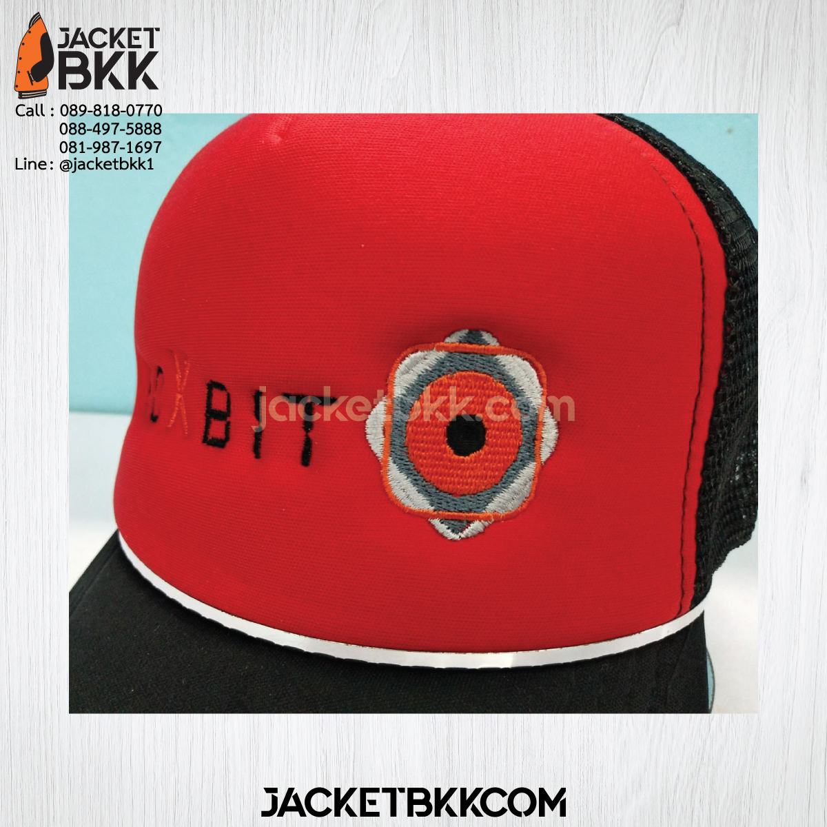 ผลงาน - หมวกแก๊ปตาข่ายครึ่งใบ สองสี สีดำแดง พร้อมงานปัก