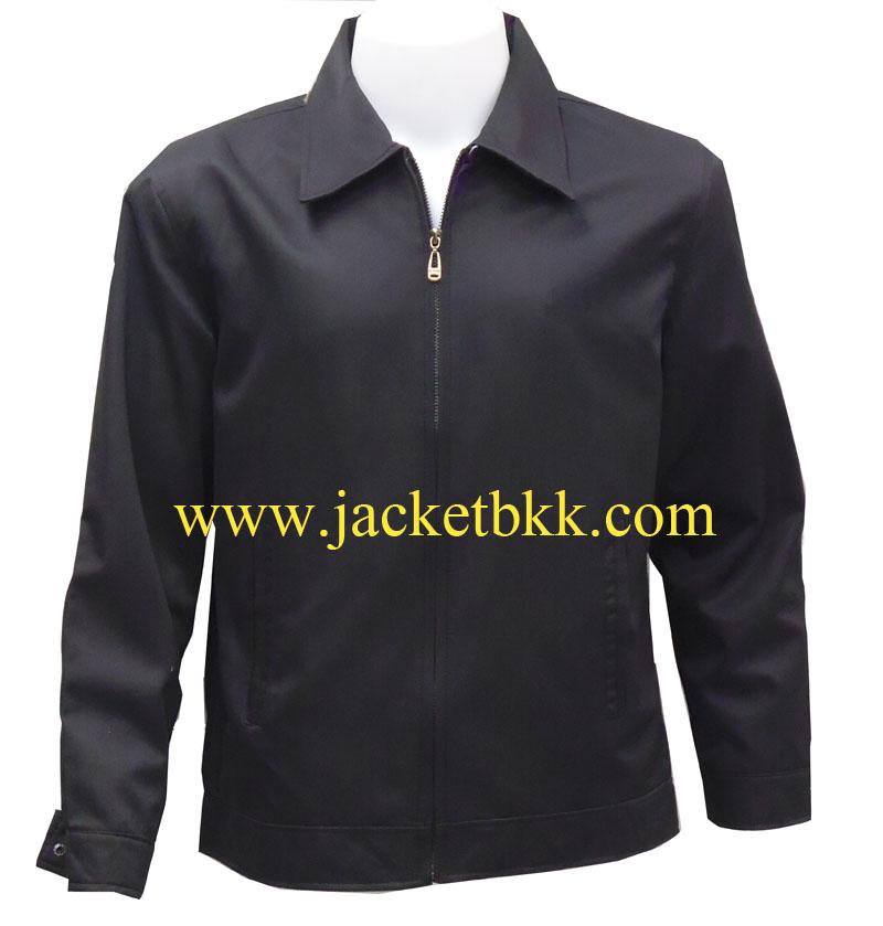 เสื้อแจ็คเก็ต นำเข้า สีดำล้วน คอปก