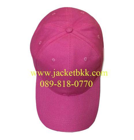 หมวกแก๊ปผ้าพีชสีชมพูเข้ม เจาะรูตาไก่+มีแซนวิชสีขาว ปลายปีกหมวก
