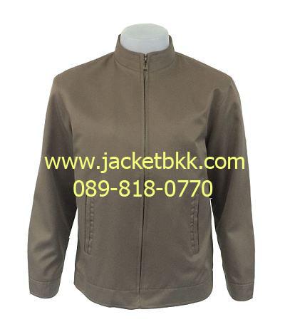 เสื้อแจ็คเก็ต คอจีน นำเข้า สีน้ำตาลเข้ม กุ๊นคอสีแดง