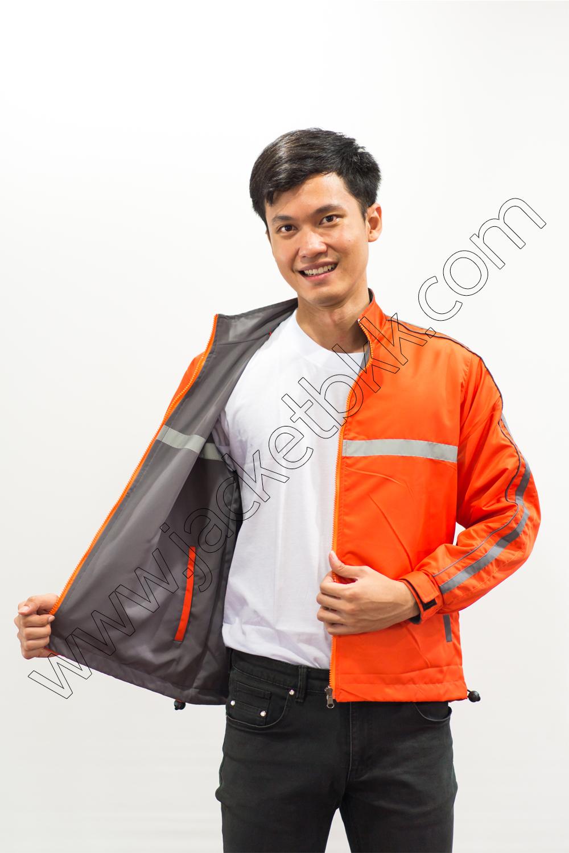 เสื้อแจ็คเก็ต 2ด้านสีเทา-สีส้ม