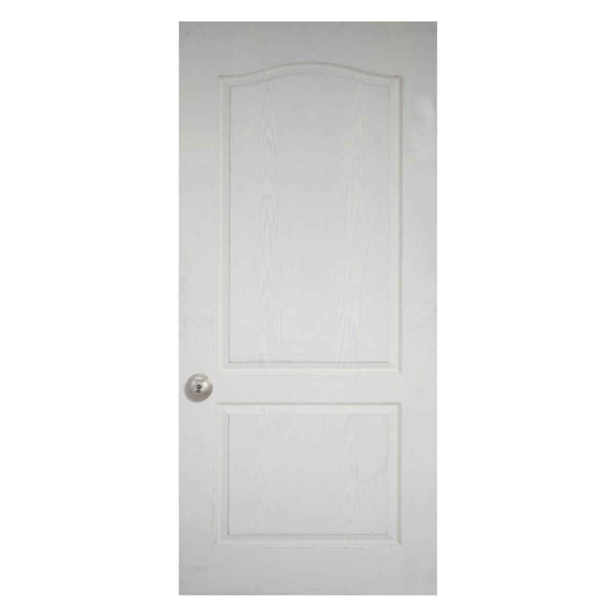 Leo Dore' : ประตูลูกฟัก 2 โค้ง ผิวลายไม้ สีรองพื้นขาว