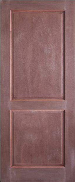 Level Door : ประตูไม้จริง ลูกฟัก 2 ตรง สยาแดง (ภายนอก)