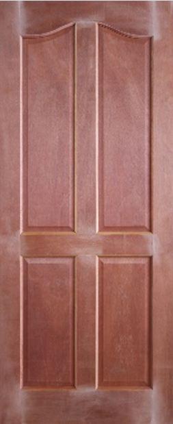 Level Door : ประตูไม้จริง สยาแดง ลูกฟัก 4 โค้ง