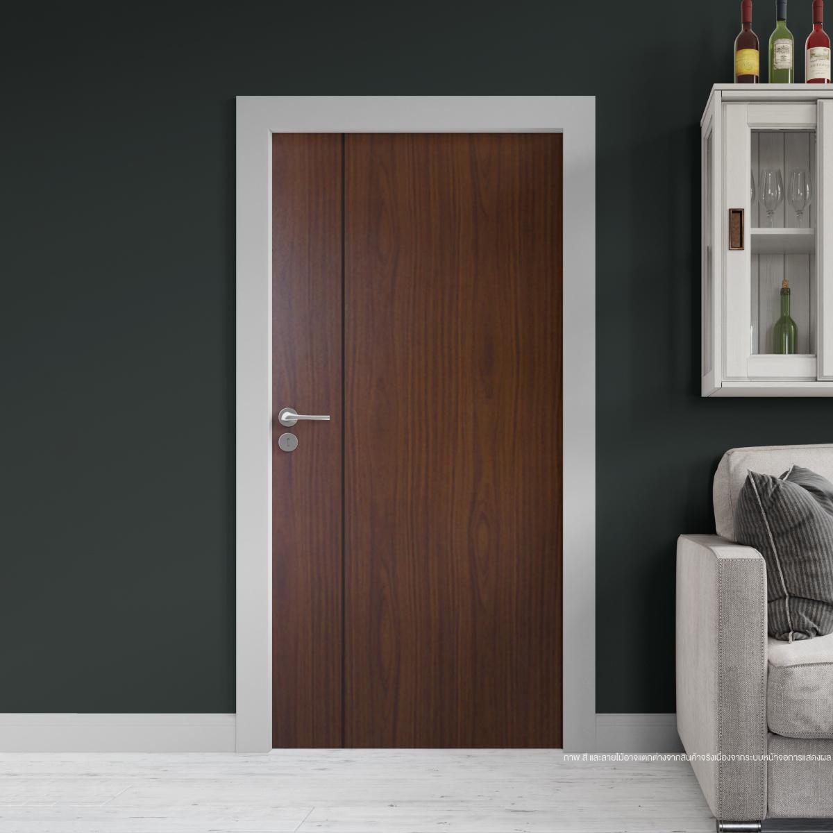 ประตูไม้เมลามีน สี Walnut Series6 ลาย01 แบบเซาะร่อง