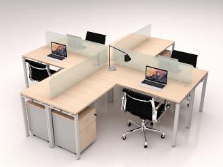 DS-WS10 โต๊ะทำงานกลุ่ม 4 ที่นั่งทรงแอล