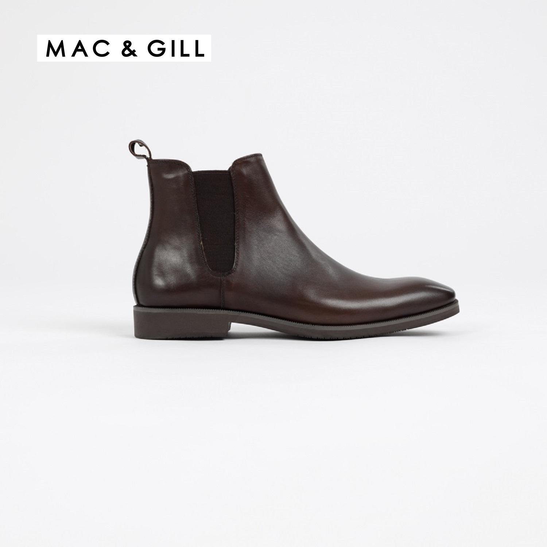 รองเท้าผู้ชายหนังแท้แบบฮาฟทางการ CHELSEA LEATHER ANKLE BOOTS Genuine Leather slip-on with elastic strap MAC & GILL
