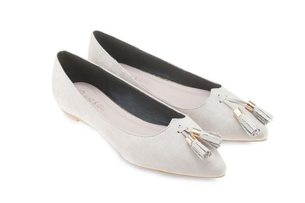 Willa Suede Ballets -Grey Tassel Flats