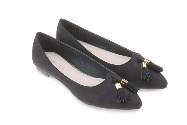 Willa Suede Ballets -Black Tassel Flats