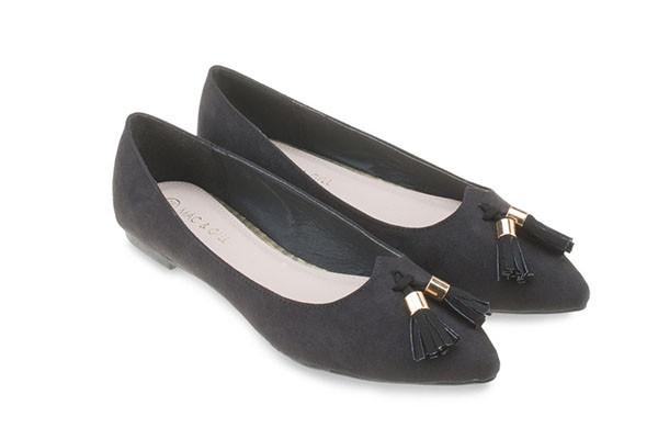 Willa Suede Ballets -Black Tassel Flats