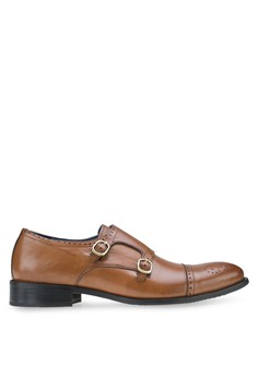 Monkstraps Captoe Perforated Leather Shoes in Brown