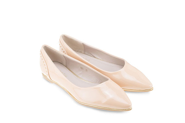 Mac & Gill Beige Studded  Fallon Pointed Flats - Nude