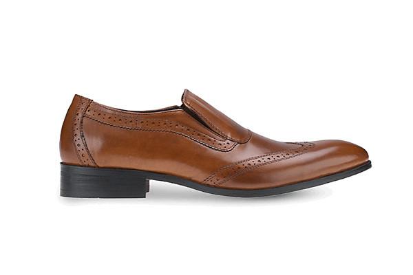 รองเท้าโลฟเฟอร์แบบทางการ Brown Oxford Leather Loafers