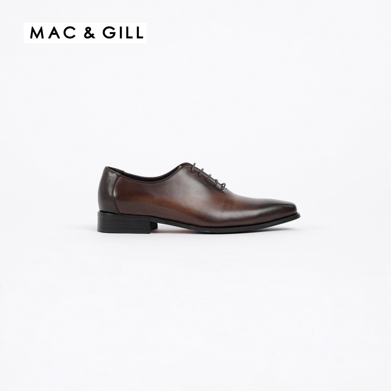 รองเท้าผู้ชายหนังแบบผูกเชือกทางการสีน้ำตาลแบบ WASHINGTON GRAND WHOLE-CUT LEATHER LACED UP SHOES IN BROWN