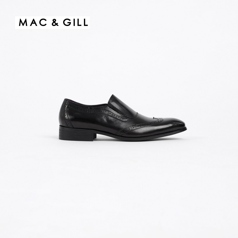 รองเท้าผู้ชายหนังแท้แบบสวมทางการและออกงานสีดำ