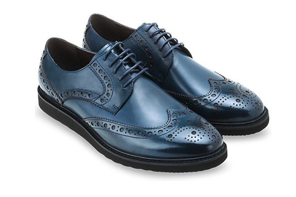 MAC and GILL Men Leather shoes Full Brogue Derby in Navy business shoes
