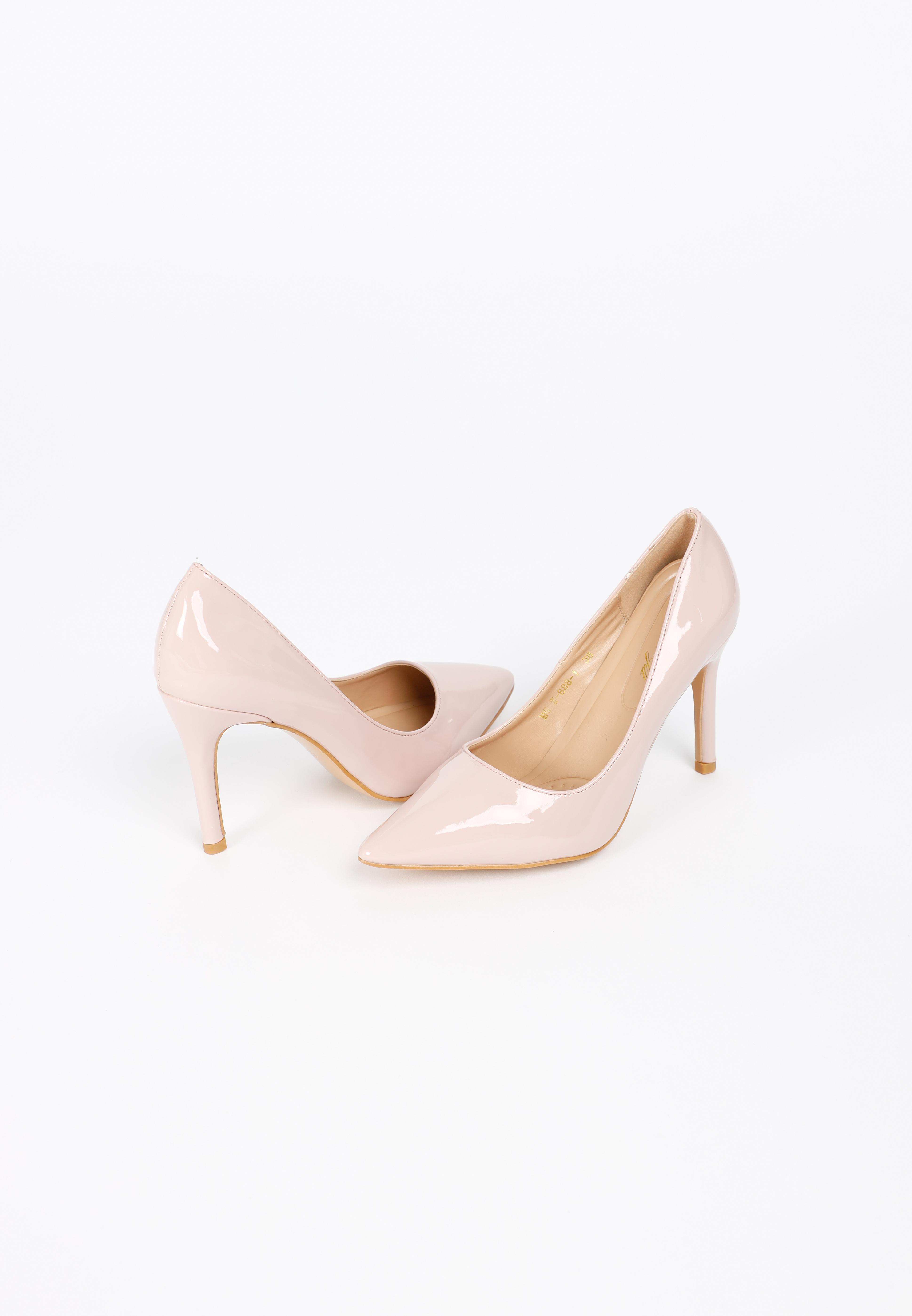รองเท้าส้นสูง ดีไซน์หัวแหลม KATE Pink Patent High Heels MAC & GILL