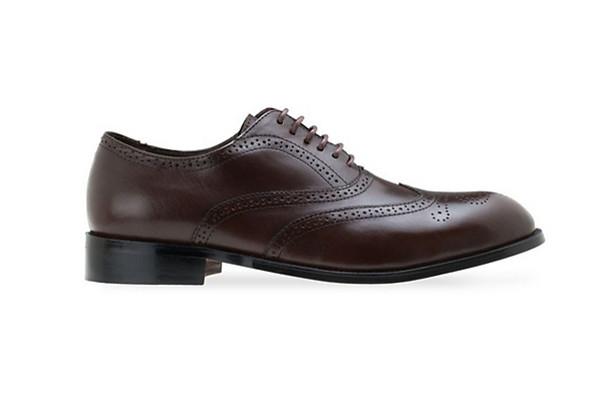 รองเท้าแบบผูกเชือกหนังแท้ Leather Lace Up - Dark Brown