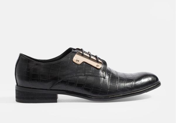 รองเท้าแบบผูกเชือก Croc-Skin Gilded-Steel MAC and GILL