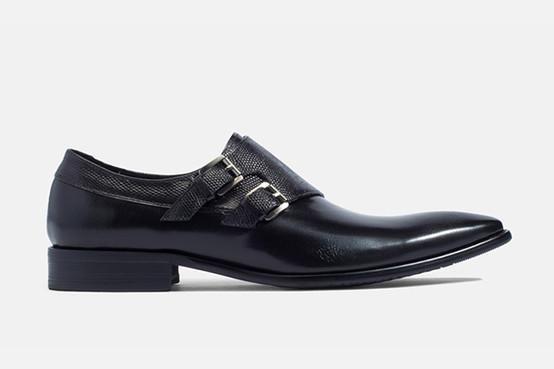 DOUBLE BUCKLES MONKSTRAP Snake SKIN Strap Slip-on Shoes