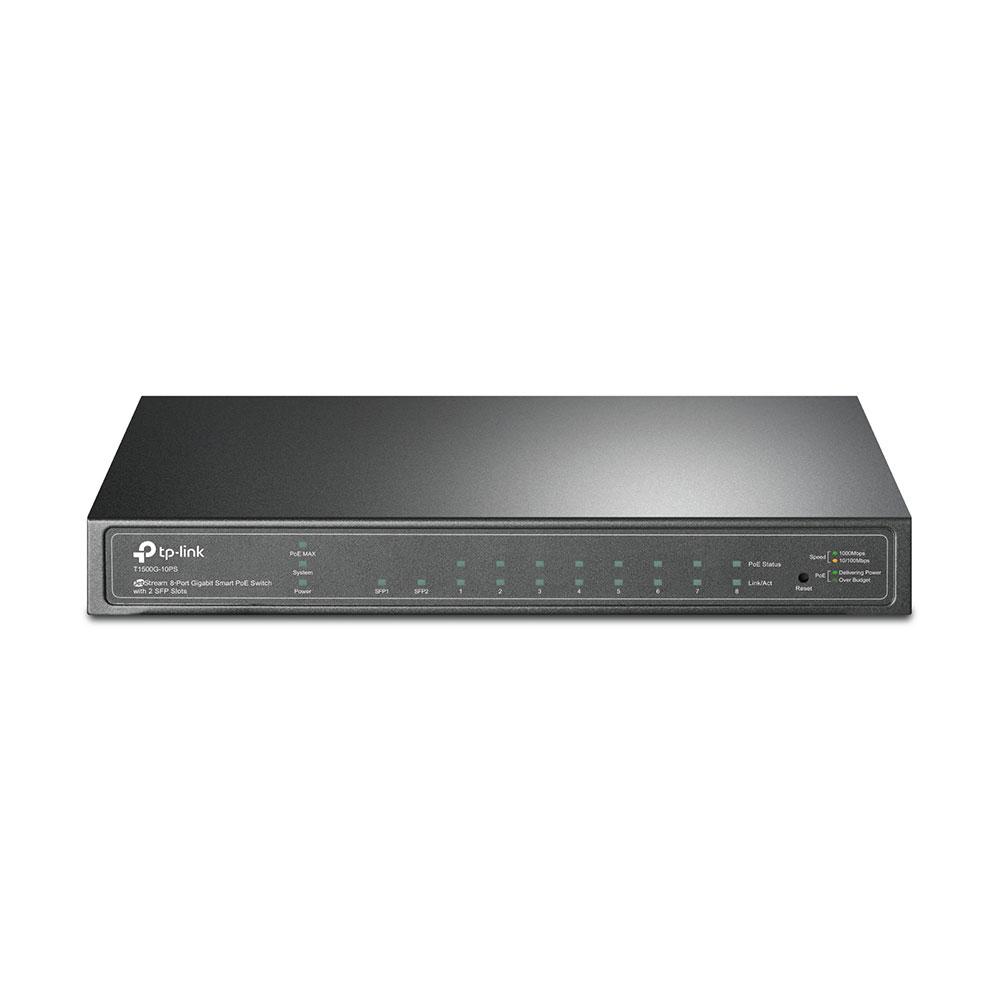 TP-LINK T1500G-10PS (TL-SG2210P) JetStream 8-Port Gigabit Smart PoE Switch with 2 SFP Slots
