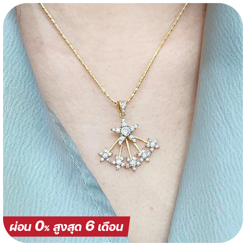 Six flower big diamond necklace (FREE Italy Gold Necklace)