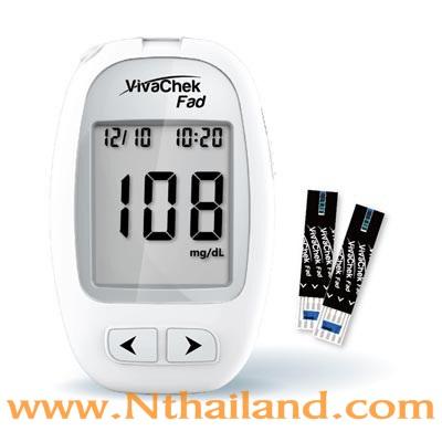 เครื่องตรวจน้ำตาลในเลือด VivaChek Fad + เข็ม + แผ่นตรวจ