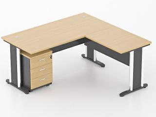 โต๊ะทำงานตัวแอลขาเหล็ก
