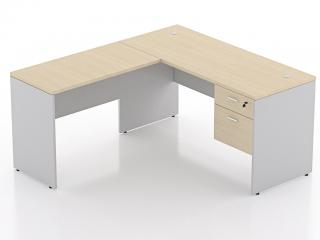 โต๊ะทำงานตัวแอลขาไม้ พร้อมลิ้นชัก