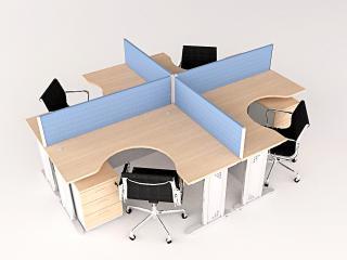 โต๊ะทำงานกลุ่ม 4 ที่นั่งทรงแอล