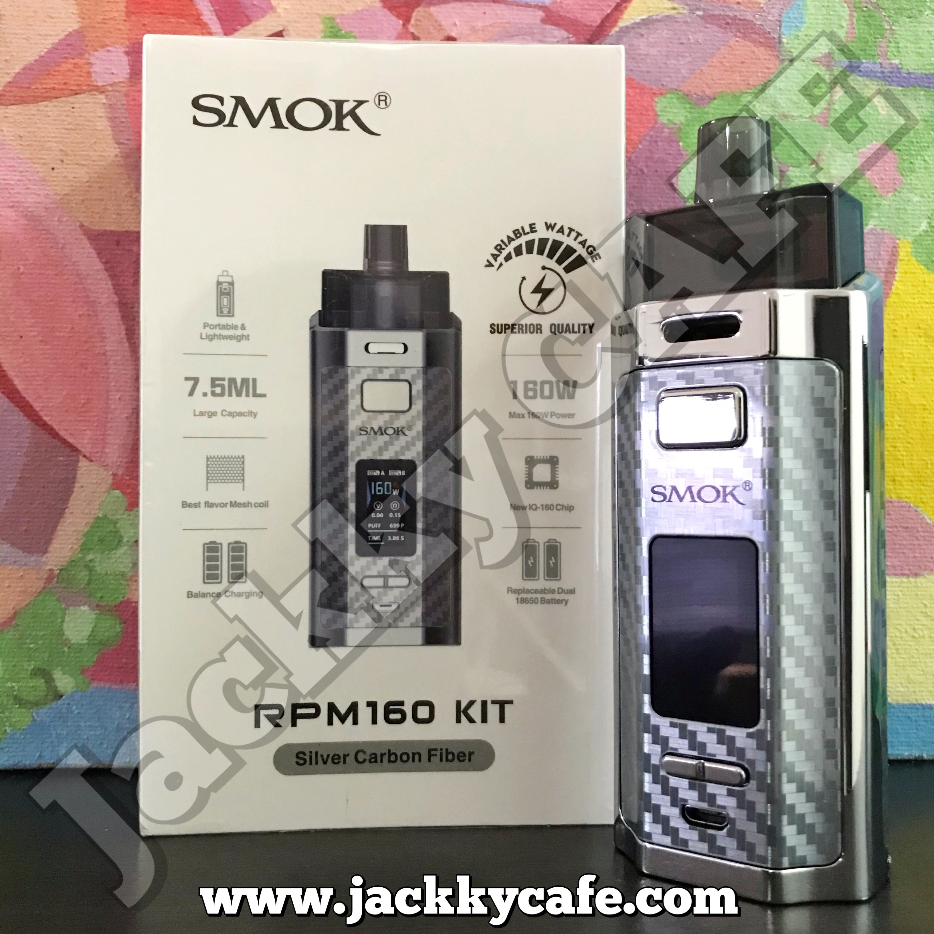 Smok RPM160 kit (Silver Carbon Fiber)