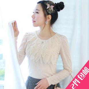 [[สินค้าขายแล้ว]] เสื้อแขนยาว myfiona สไตล์เกาหลี ช่วงคอมีกลีบชั้น Fiona แขนยาวเสื้อยืดแคชเมียร์พัฟ