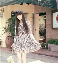 [[สินค้าขายแล้ว]] ชุดเดรสผ้าชีฟองพิมพ์ลายเสือสไตล์ญี่ปุ่น เนื้อผ้าดี