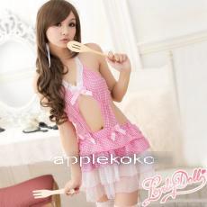 [[พร้อมส่ง]] ชุดแม่บ้านโสดสนิท (lolita) สีชมพูสวยหวาน ชุดเอี้ยมกระโปรงผ้าลายตารางสีชมพูกระโปรง 2 ชั้นระบายสีขาว