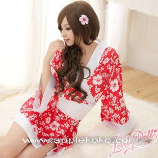[[พร้อมส่ง]] ชุดแฟนซี cosplay ชุดกิโมโนสีแดง ดอกขาวขลิบขาว