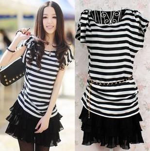 [[สินค้าขายแล้ว]] ชุดเดรสเสื้อลายขวางขาว-ดำ+กระโปรง