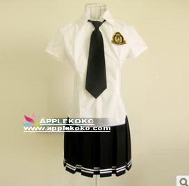 [[พร้อมส่ง]] ชุดแฟนซี cosplay ชุดนักเรียนญี่ปุ่น เสื้อขาวแขนสั้นเนคไทสีดำ กระโปรงสีดำขลิบขาวชายกระโปรง