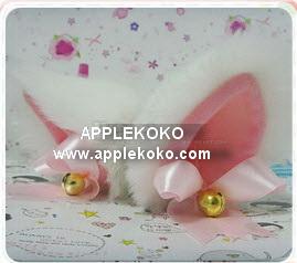 [[พร้อมส่ง]]  หูแมว Catwoman ทรงระฆังขนแมวสีขาวหูด้านในบุผ้าสีชมพู+โบว์สีชมพู