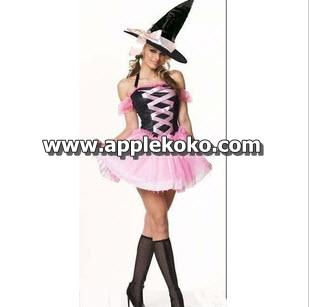 [[พร้อมส่ง]] ชุดแฟนซี Halloween ชุดฮาโลวีน ชุดแม่มดกระโปรงชมพู ในวันฮาโลวีน