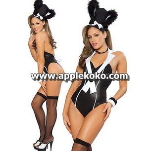 [[พร้อมส่ง]]  ชุดแฟนซี cosplay คอสเพลย์ ชุดกระต่ายสีดำ แบบวันพีท เซ็กซี่